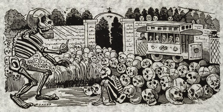 Obra del artista mexicano Jose Guadalupe Posada, festividad de los muertos | Stylefeelfree